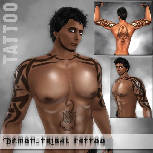 XstreetSL Second Life Tribal-Demon-Heart Tattoos & Body Oil For Men